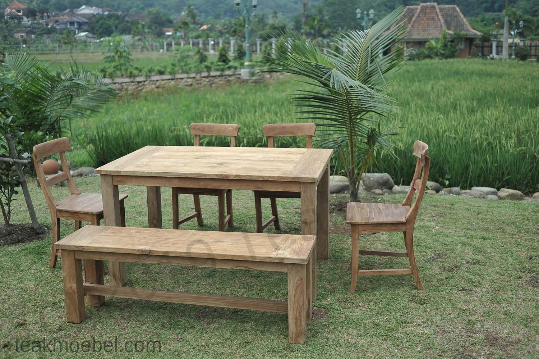 Gartentisch 140x90cm Mit 4 Stuhle Und Bank Teakmobel Com