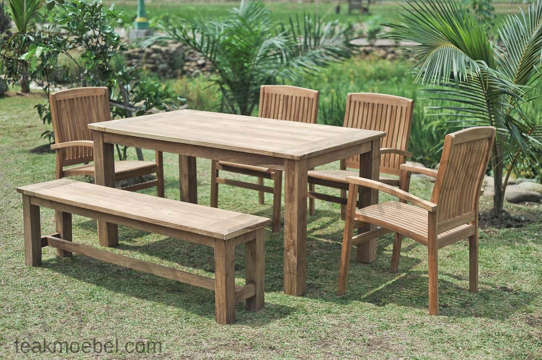 Gartentisch 160x90cm Mit 4 Stapelstühle Und Bank