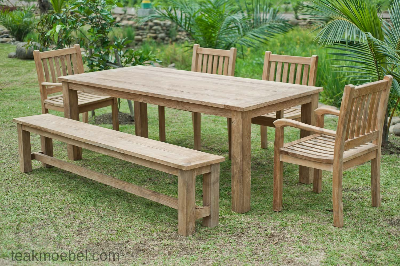 Gartentisch 220x100cm Mit 4 Beaufort Stuhle Und Bank Teakmobel Com