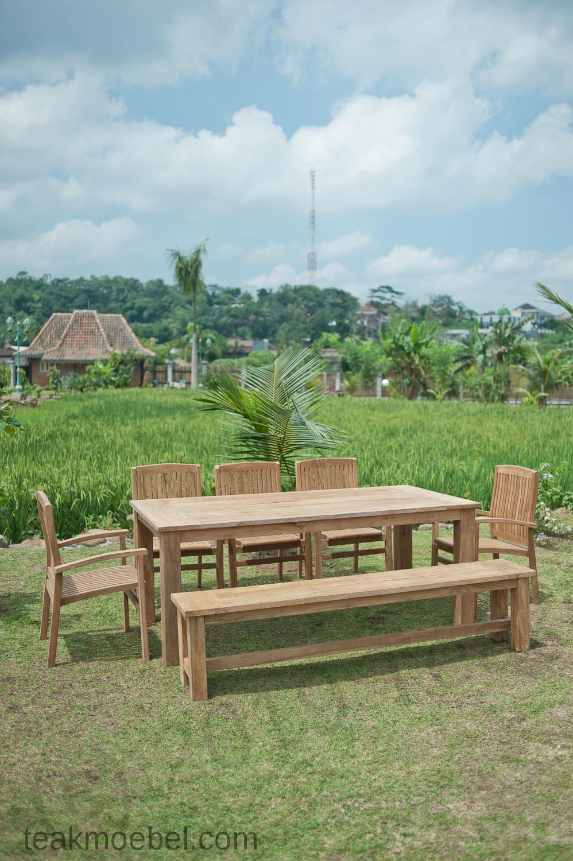 Gartentisch 220x100cm mit 5 stapelst hle und bank - Gartentisch mit bank ...