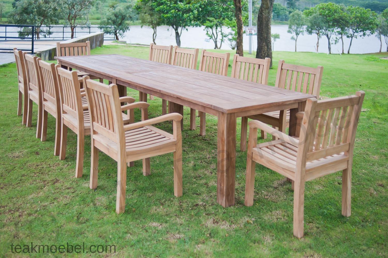 Gartentisch 400cm Mit 12 Beaufort Stuhle Teakmobel Com