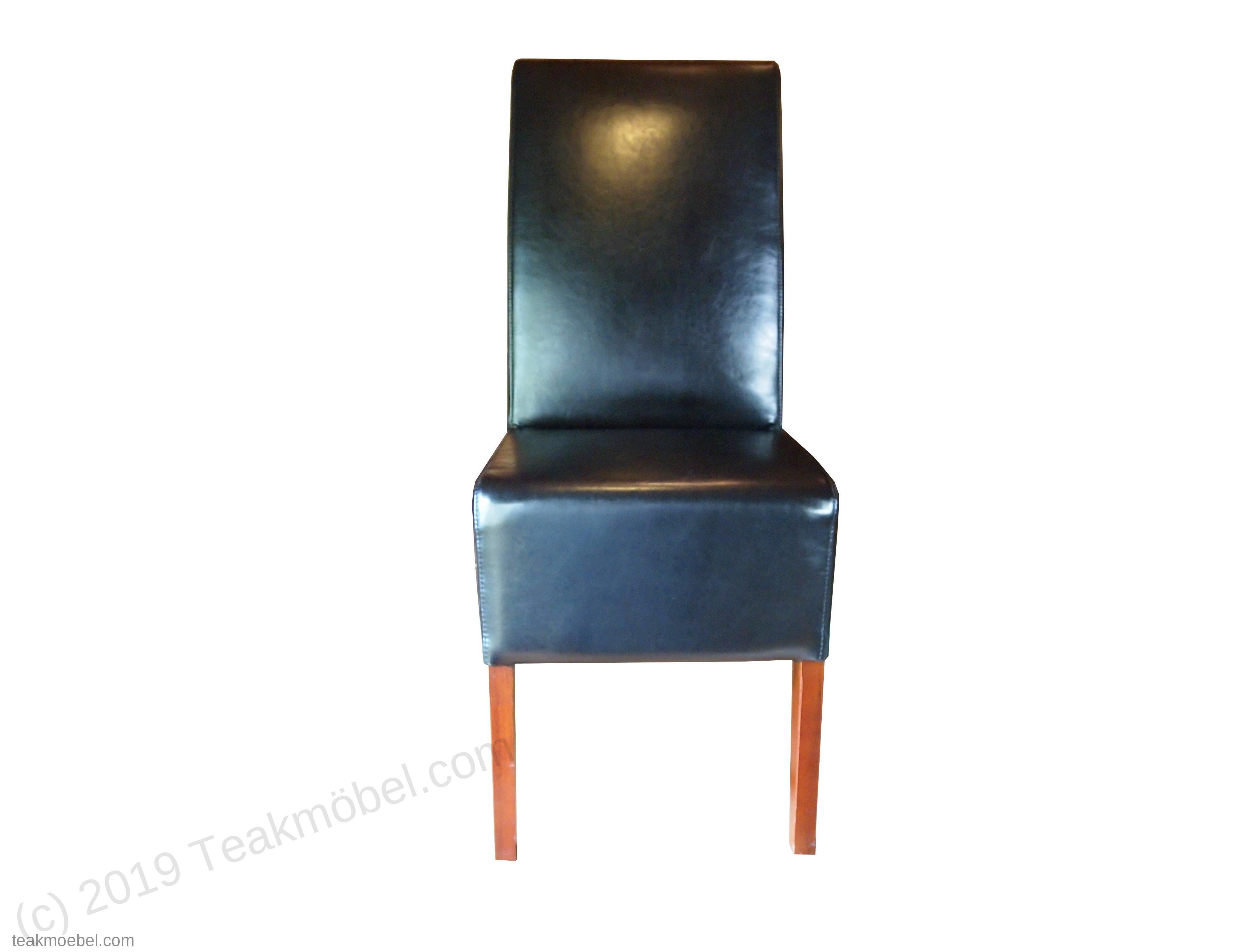 leder stuhl schwarz teakm. Black Bedroom Furniture Sets. Home Design Ideas