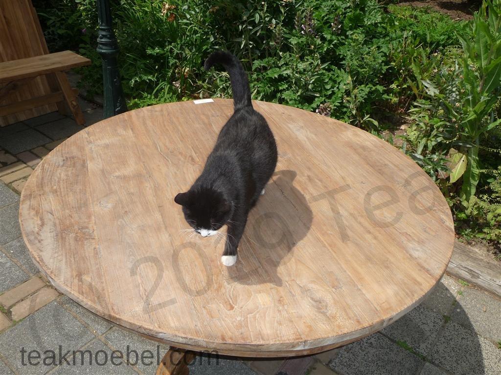 Teak-Tisch rund Ø 140 cm altes Holz   Teakmöbel.com