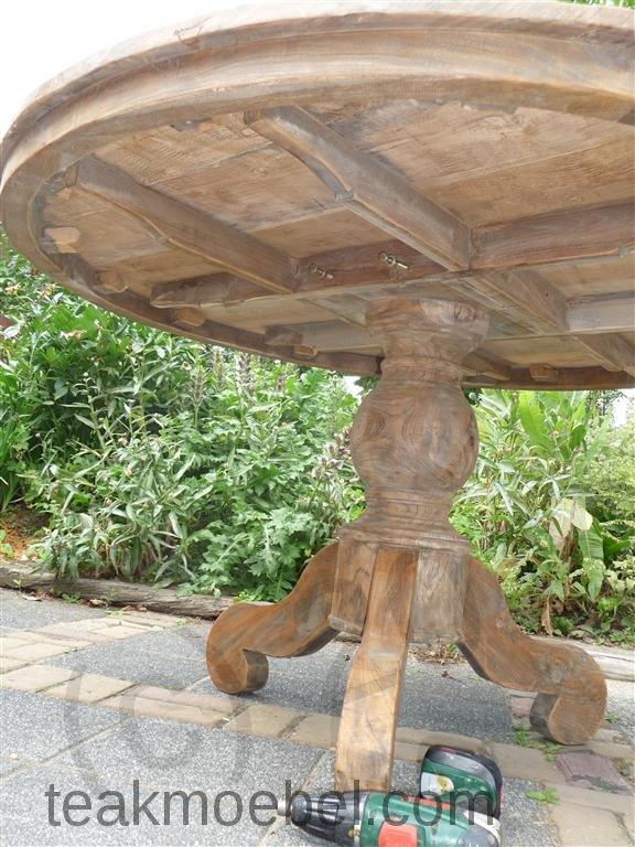 Teak Tisch Rund O 140 Cm Altes Holz Teakmobel Com