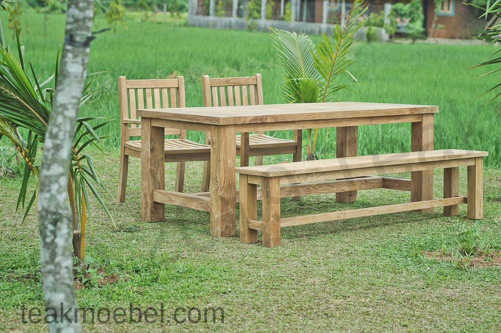 teak gartenbank ohne lehne 200cm teakm. Black Bedroom Furniture Sets. Home Design Ideas