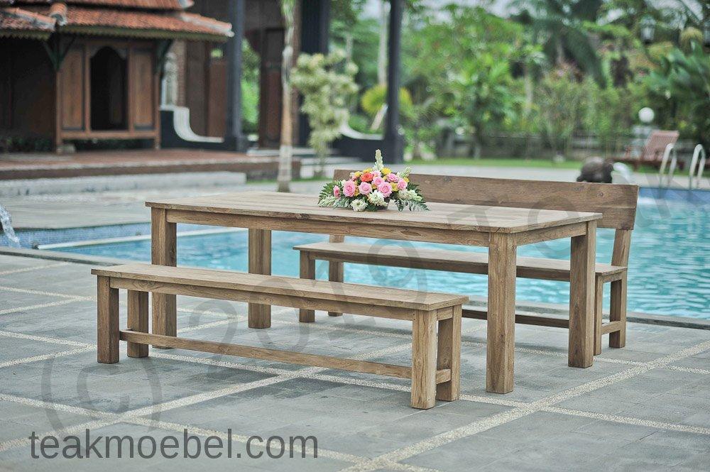 teak gartenbank ohne lehne 200cm teakm. Black Bedroom Furniture Sets. Home Design Ideas