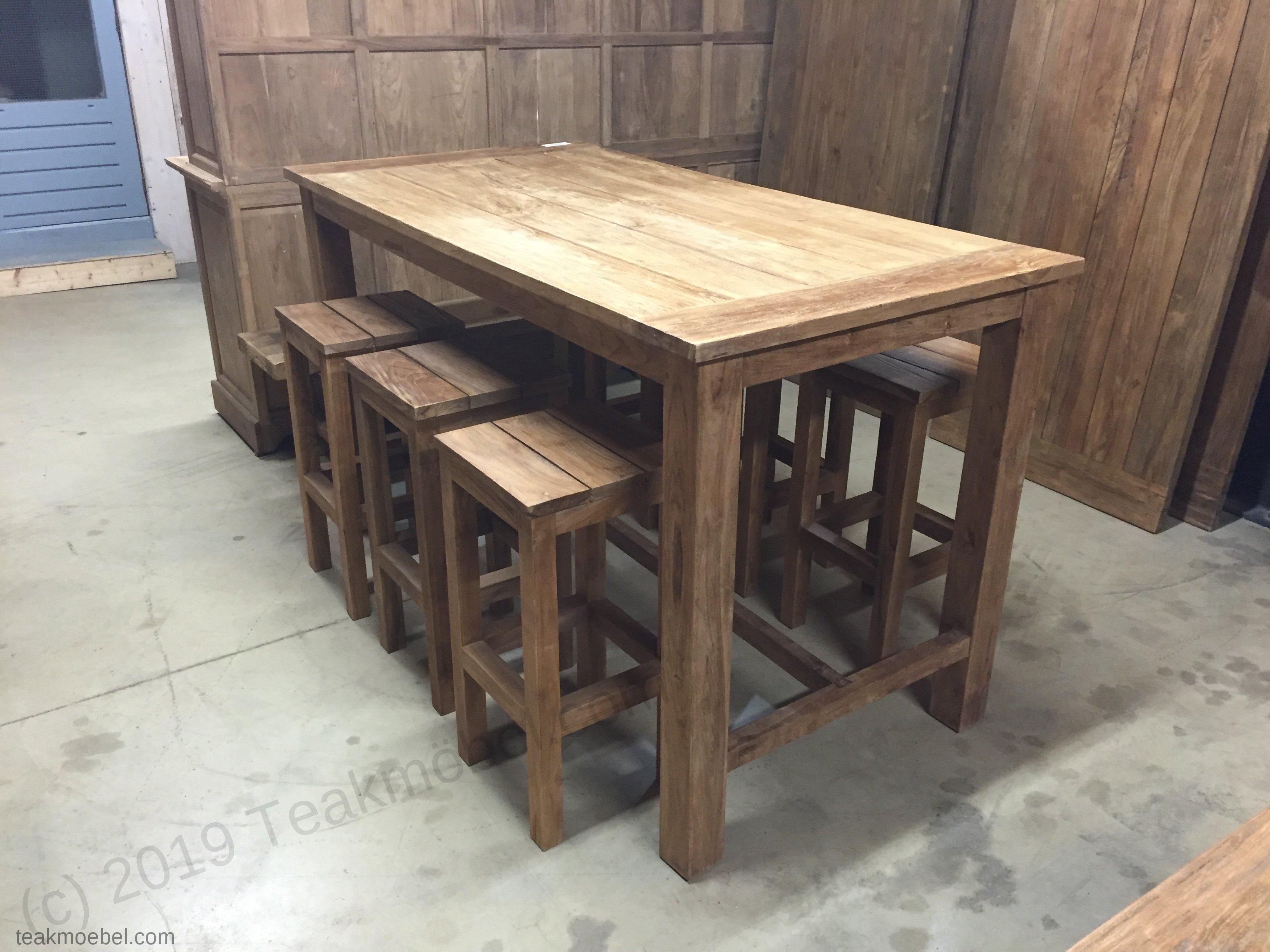 Teak gartentisch bartisch 180x90cm 6 barhocker for Teak barhocker