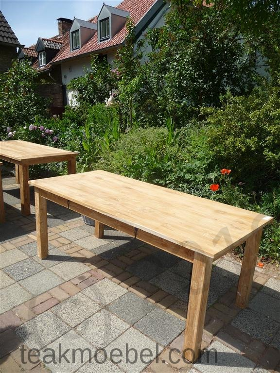 teak tisch mit schubladen 200 x 100 cm teakm. Black Bedroom Furniture Sets. Home Design Ideas