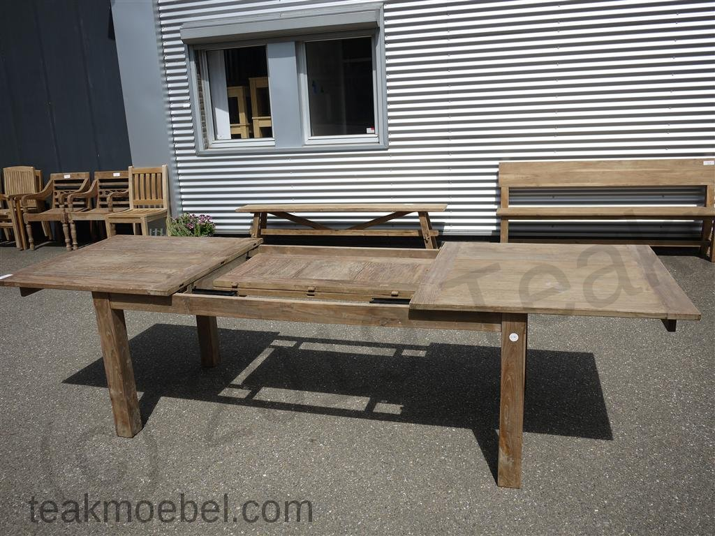 teak tisch altes holz 200 250 300 x 100 cm ausziehbar teakm. Black Bedroom Furniture Sets. Home Design Ideas
