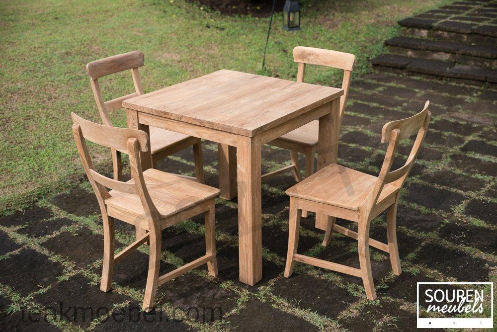 Teak Tisch 80x80 4 Stühle Teakmöbelcom