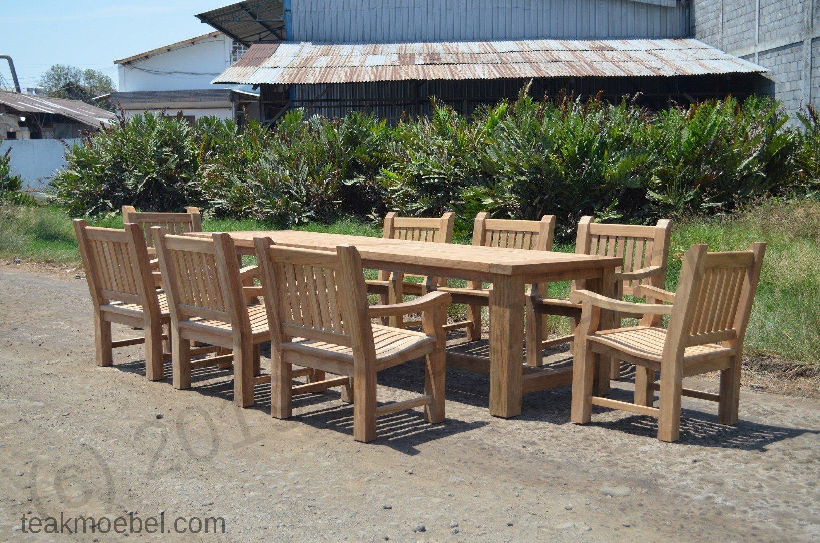 Gartentisch Mammut 300cm Mit 8 Mammut Gartenstuhle Teakmobel Com