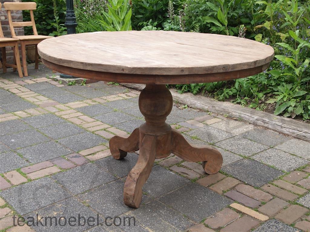 teak tisch rund 120 cm altes holz teakm. Black Bedroom Furniture Sets. Home Design Ideas