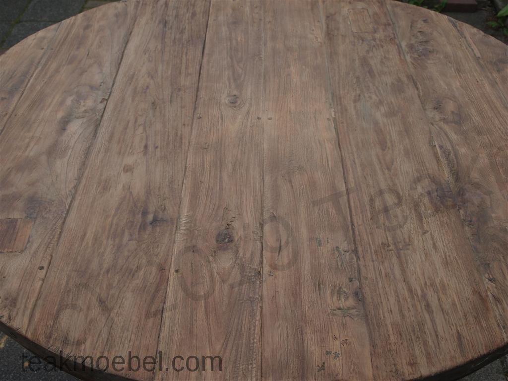 Teak Tisch Rund O 120 Cm Altes Holz Teakmobel Com