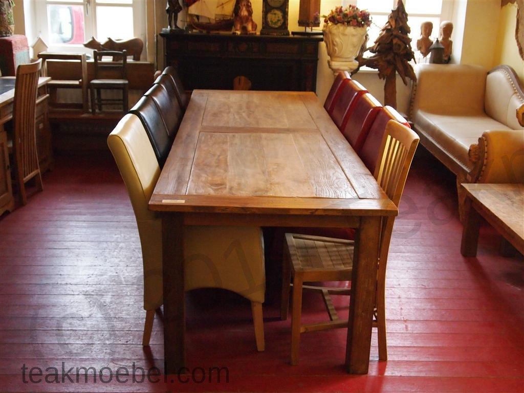 Teak Tisch altes Holz 300 x 100 cm   Teakmöbel.com