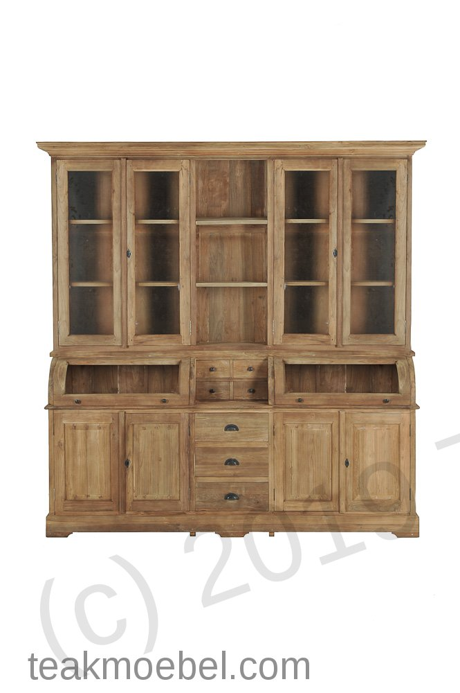 teak schrank mit runder klappe 210cm teakm. Black Bedroom Furniture Sets. Home Design Ideas