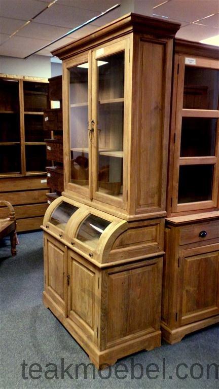 teak schrank mit runder klappe 114cm teakm. Black Bedroom Furniture Sets. Home Design Ideas