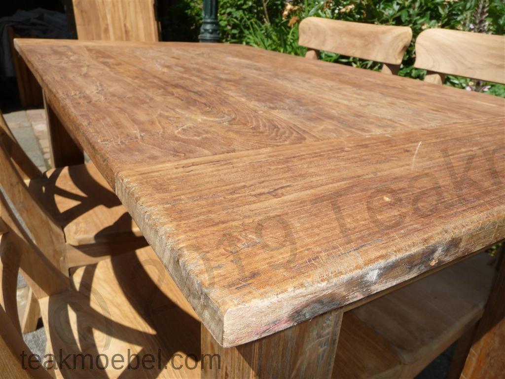 teak tisch aus altem holz 120 x 80 cm teakm. Black Bedroom Furniture Sets. Home Design Ideas