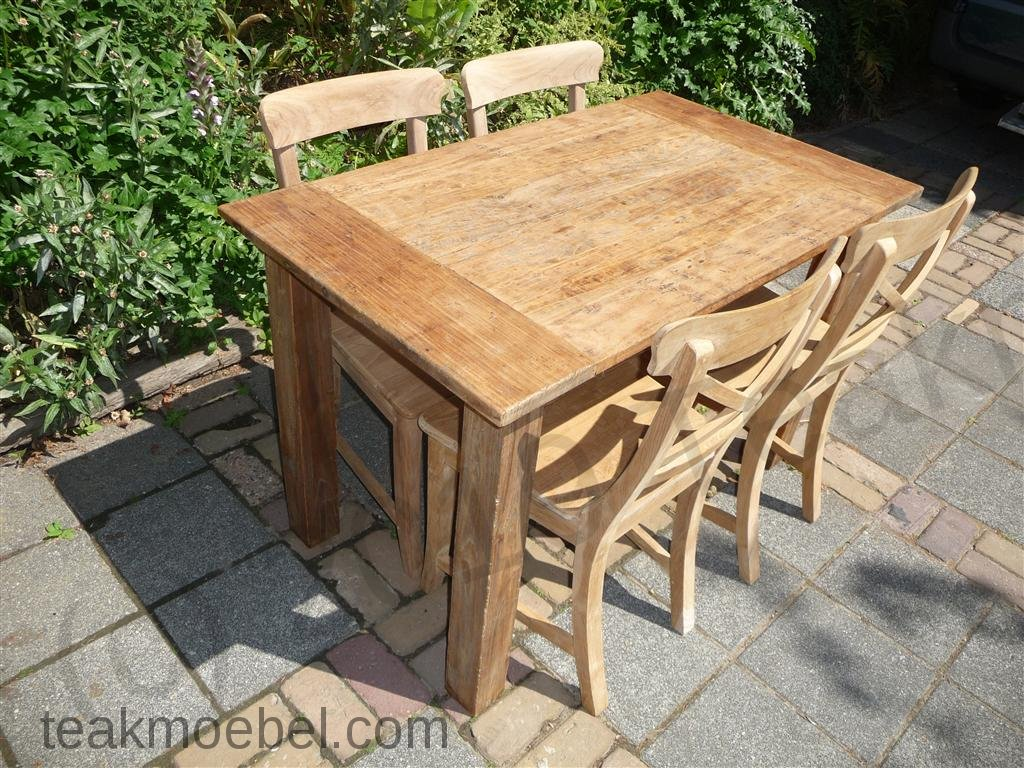 Gemeinsame Teak Tisch aus altem Holz 120 x 80 cm | Teakmöbel.com #HJ_21