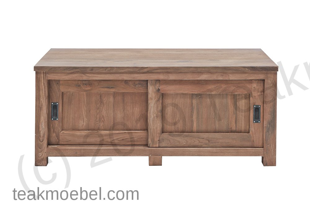 teak fernsehm bel schiebet ren 140 x 50 x 50 cm teakm. Black Bedroom Furniture Sets. Home Design Ideas