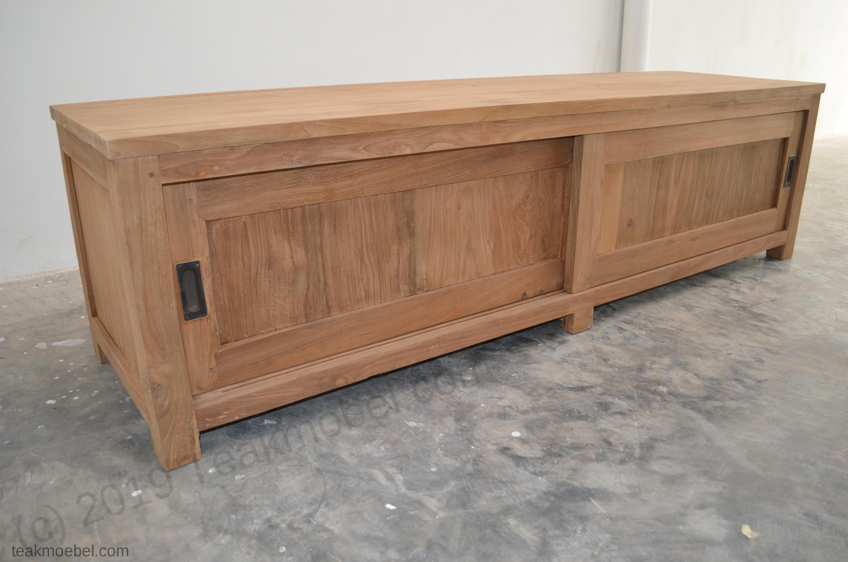 Sideboard Fernsehmöbel teak fernsehmöbel schiebetüren 180 x 50 x 50 cm teakmoebel com