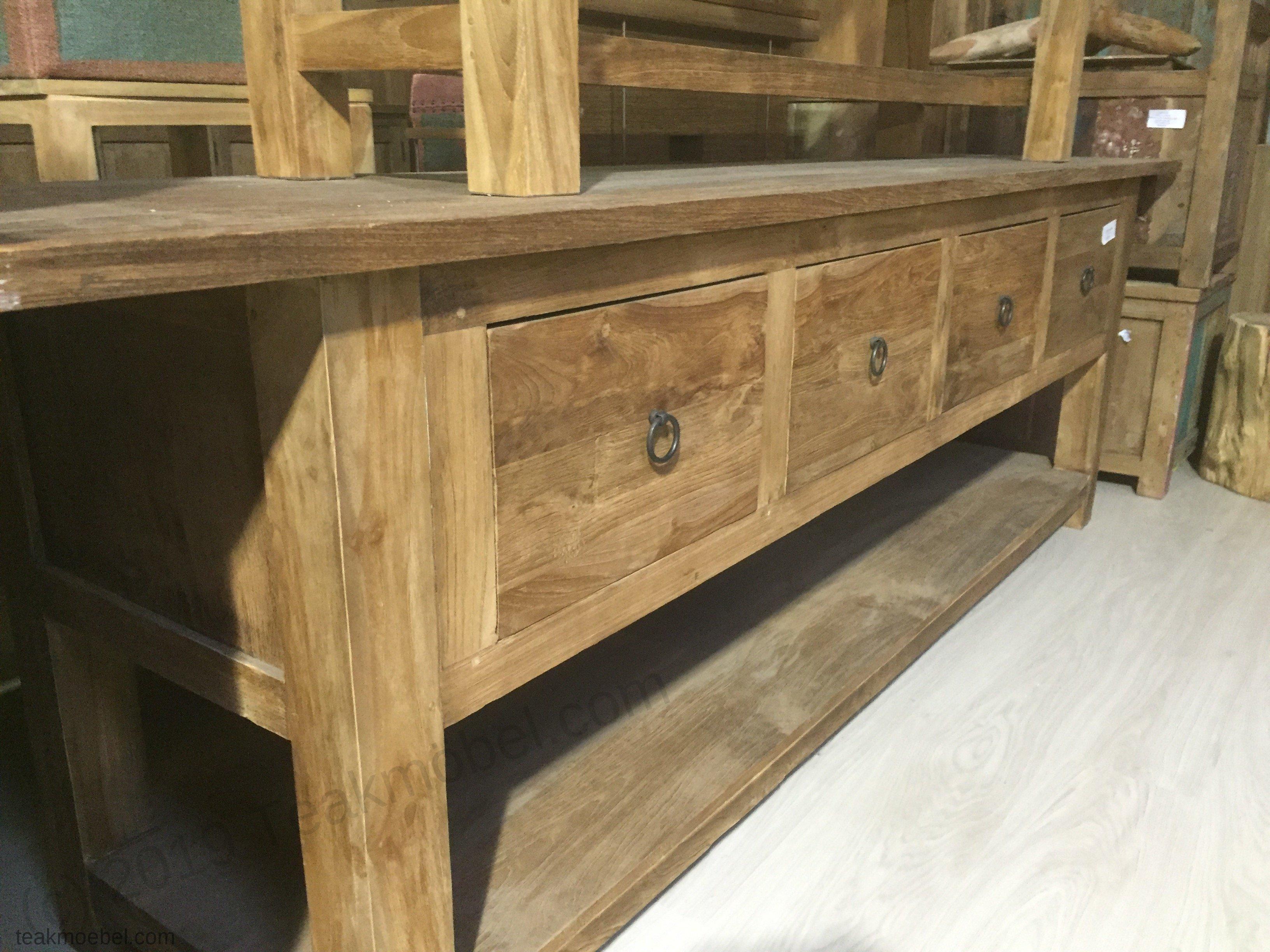 teak anrichte 250x55x79cm teakm. Black Bedroom Furniture Sets. Home Design Ideas