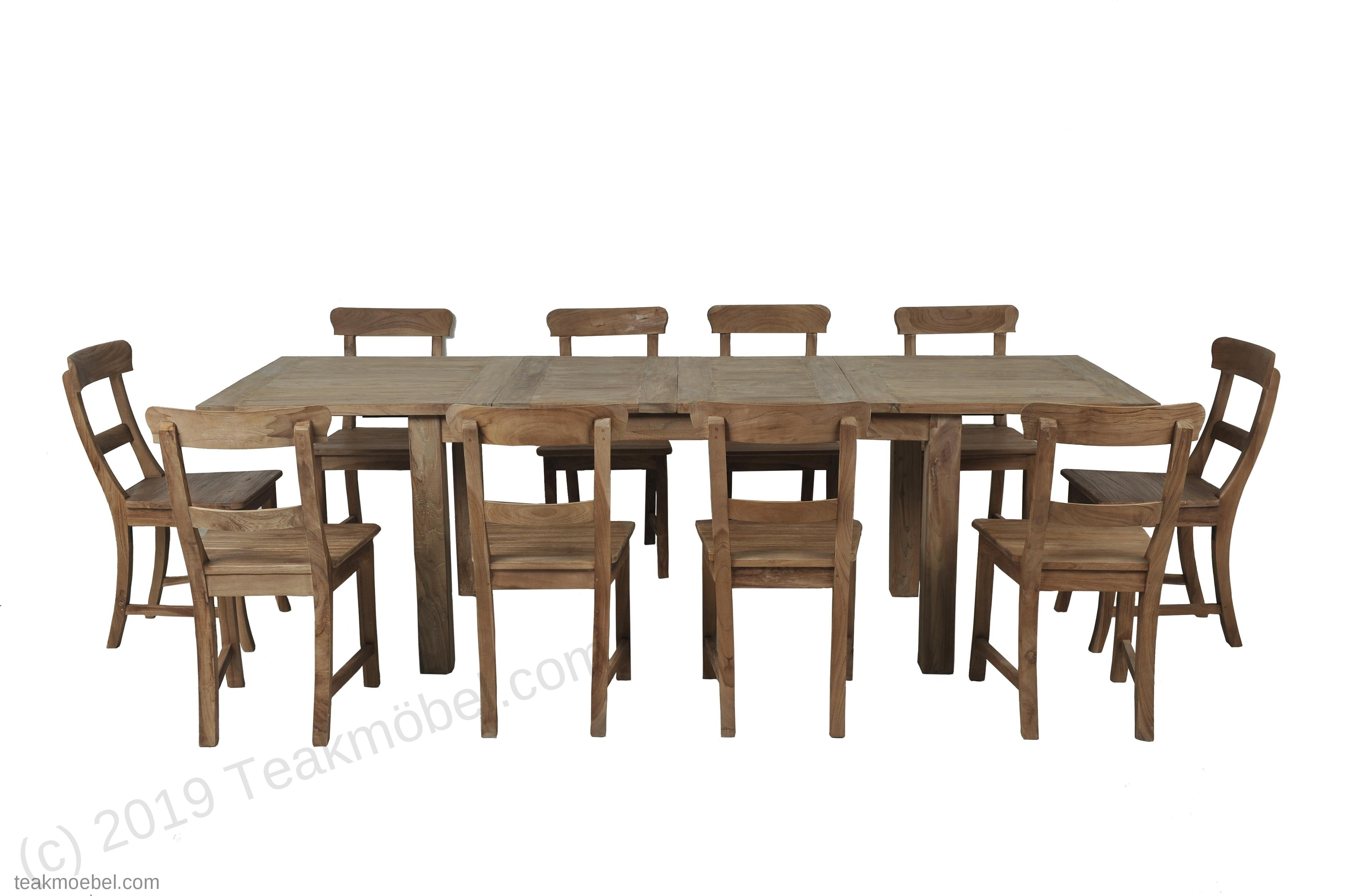 Teak Esstisch Ausziehbar 160 210 260x90 10 Stühle Teakmöbelcom
