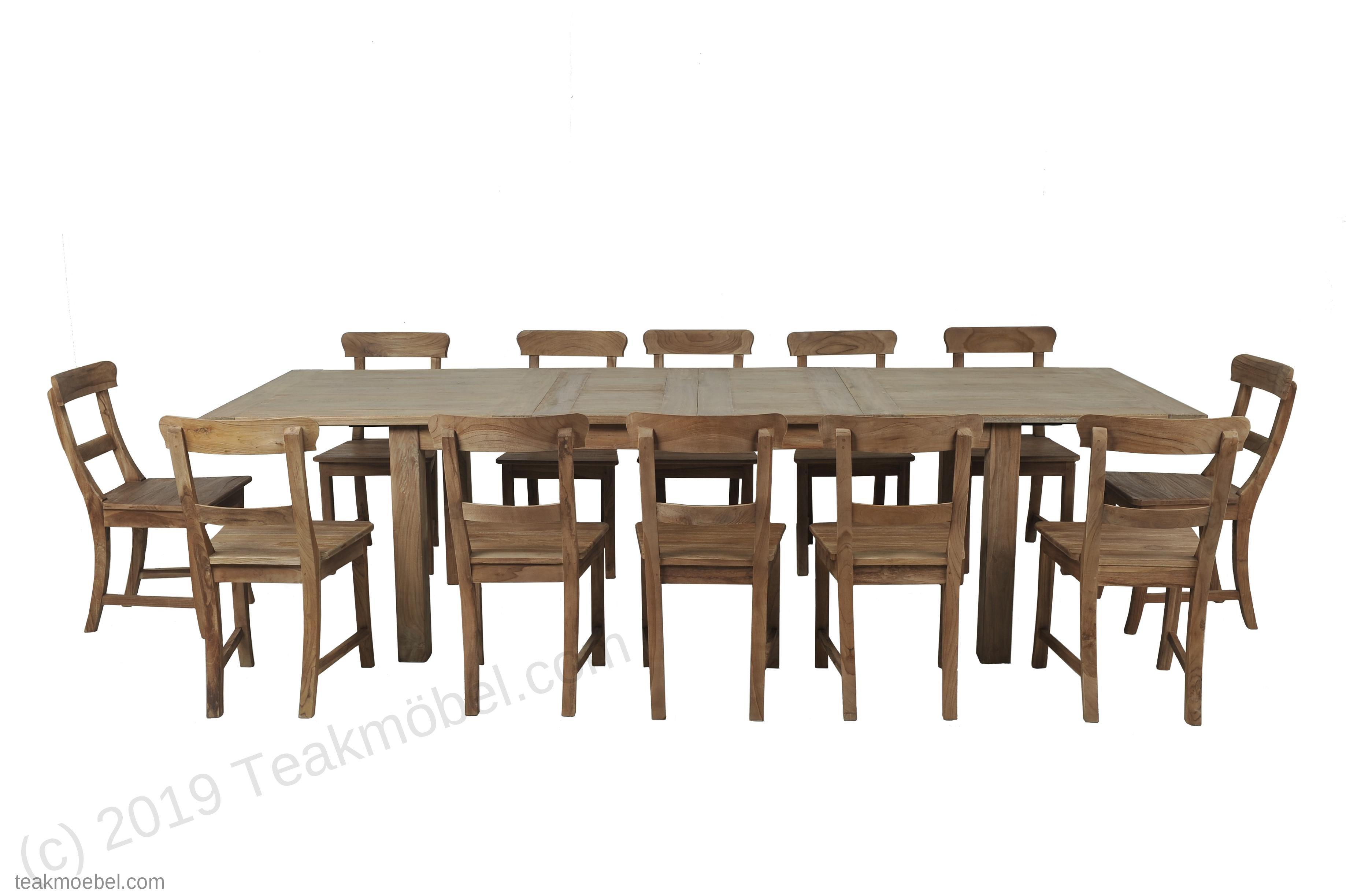 Teak Esstisch Ausziehbar 50-50-50x50 + 50 Stühle