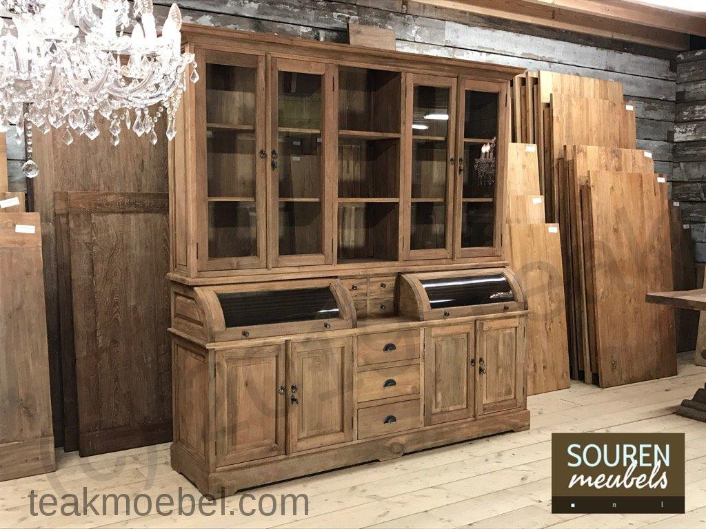 teak schrank mit runder klappe 210cm teakm. Black Bedroom Furniture Sets. Home Design Ideas