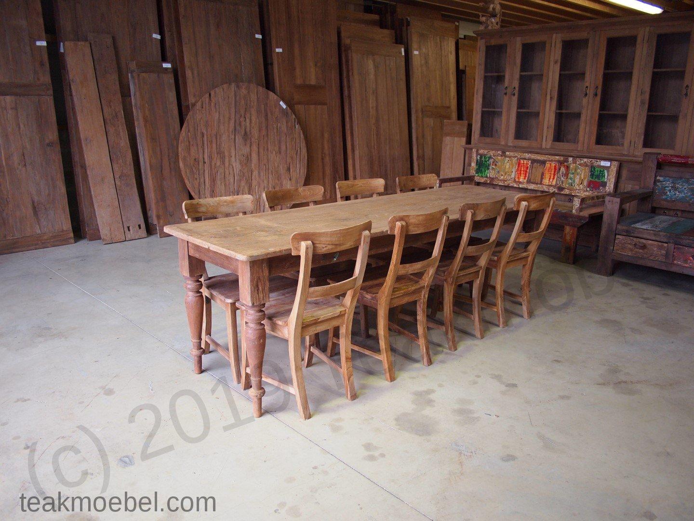 Teak Tisch Antik + 8 Stühle