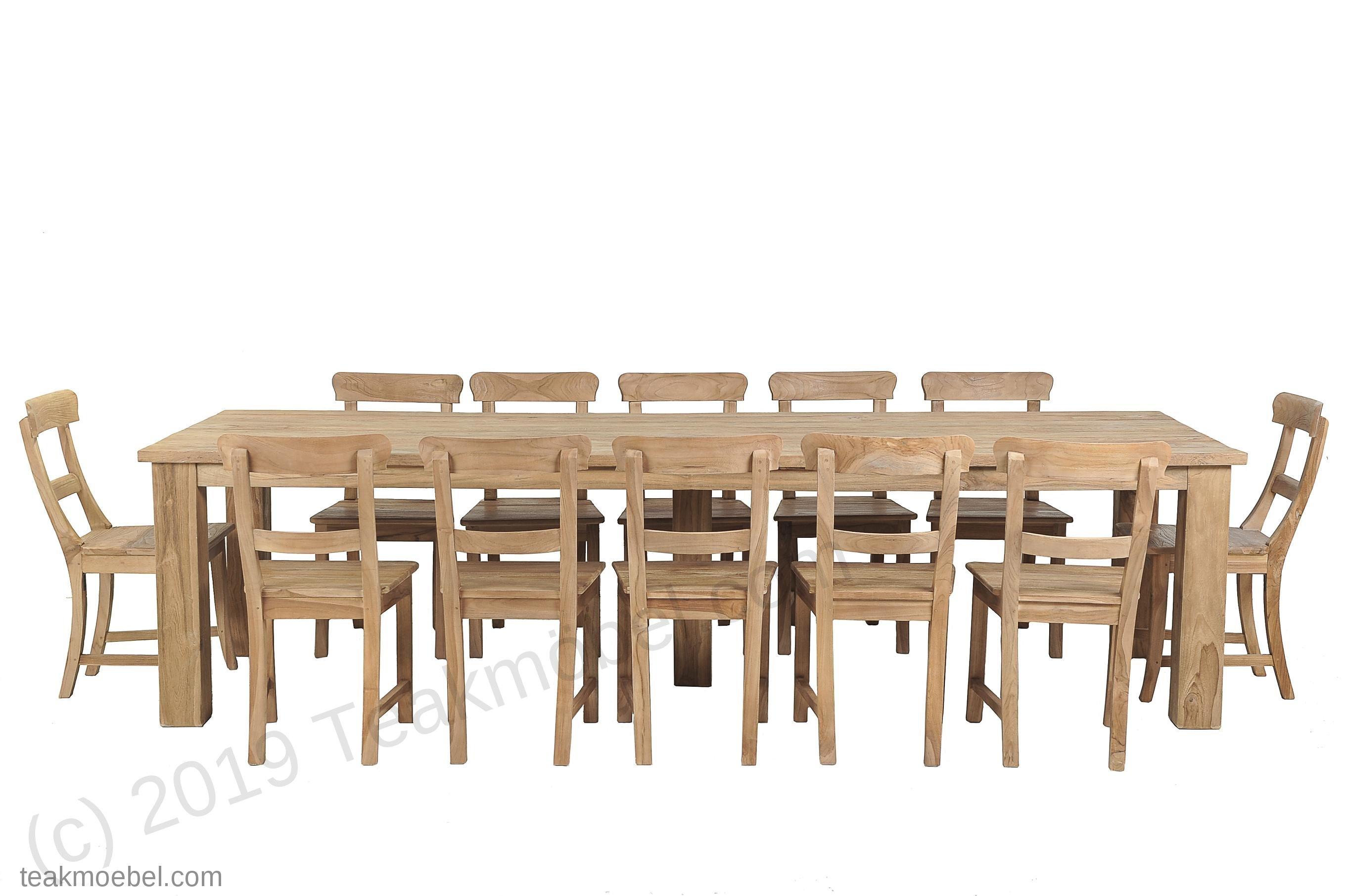 Teak Tisch gebürstet 300 x 100 + 12 Stühle