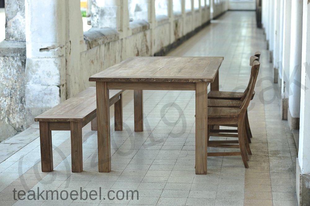 Teak Tisch Dingklik 200x100 3 Stühle Bank Teakmöbelcom