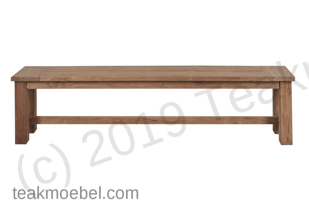 Teak Gartenbank ohne Lehne 240cm   Teakmöbel.com