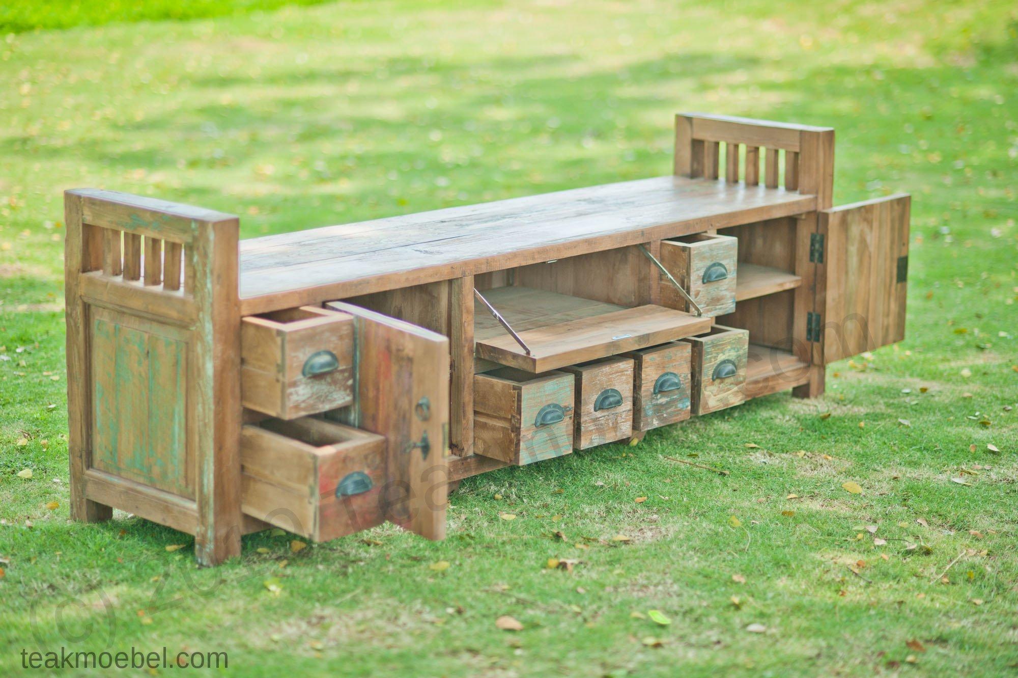 teak lowboard bangku riet teakm. Black Bedroom Furniture Sets. Home Design Ideas