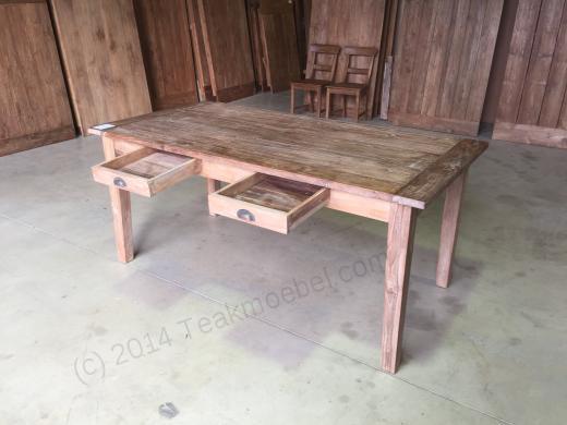 teak tisch mit schubladen teakm. Black Bedroom Furniture Sets. Home Design Ideas